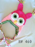 chapéu da criança do crochet da coruja venda por atacado-Coruja OWL Crochet Hat Bebê Meninos Meninas Crianças Beanie Earflaps Outono Inverno Animal Dos Desenhos Animados Cap Bebê Recém-nascido Da Criança Crianças Algodão Caps