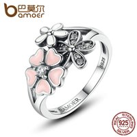 Wholesale Pink Sterling Silver Ring - 925 Sterling Silver Pink Flower Finger Ring for Women Poetic Daisy Cherry Blossom Engagement Ring Fashion Jewelry SCR004