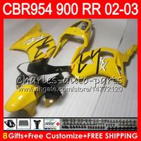 Wholesale Cbr 954 Yellow Fairings - Body For HONDA CBR 954RR CBR900RR CBR954RR 2002 2003 66NO47 Light yellow CBR 900RR CBR954 RR CBR900 RR CBR 954 RR 02 03 Fairing kit 8Gifts