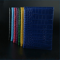 Wholesale passport sleeve online - Imitation Crocodile Skin Passport Cover PU Square ID Card Case Creative Anti Wear Wallet Protective Sleeve Top Quality kfa B