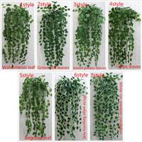 Wholesale Artificial Floor Plants - Wholesale-1 pcs 90cm cheap Artificial Ivy Leaf Artificial Plants Green Garland Plants Vine Fake Foliage Home Decoration Wedding Decoration