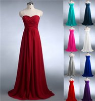 Wholesale Chocolate Colored Bridesmaid Dresses - 0039 Burgundy mint green coral jade colored chiffon strapless prom party dresses new fashion 2016 bridesmaid dress long