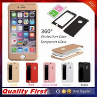 Wholesale Slimming Body Package - Luxury 360 Degree Hard Matte PC Phone Case For iPhone 6S 7 Plus S7 Slim Full Body Cover +Glass Screen Protector with Package