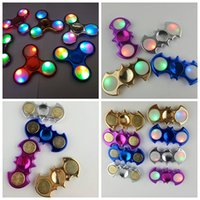 Wholesale Electroplating Battery - Electroplate Fidget Spinners LED Fidget Spinner Bat Triangle Spinner with Switch Replaceable Battery TraiFingertips Torqbar Hand Tri-Spinner