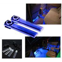 interior azul levou luzes carros venda por atacado-Chegada nova 4 em 1 12 V Car Auto Interior LED Atmosfera Luzes Decoração Lâmpada Cor Azul