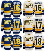 Discount chiefs hockey - Slap Shot Movie Charlestown Chiefs Hockey Jersey 16 Jack Hanson 17 Steve Hanson 18 Jeff Hanson Blue White Stitched Jerseys