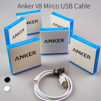 Wholesale Mirco Usb - For Anker V8 Mirco USB Cable 0.9m 3feet data sync charging cables for phones and tablets