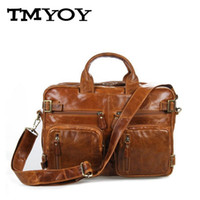 Wholesale Function Briefcases - Wholesale- TMYOY Business style men quality genuine leather bag for men multi-function briefcase 3 colors men's bag men messenger bag AA756