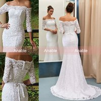 Wholesale Caught Up Wedding Dresses - Eye-Catching Lace White Sweep Train Off The Shoulder Wedding Dresses Elegant 3 4 Long Sleeves Lace Up Lace Bridal Gown