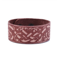 New Arrival Religious Slavic Knot Sigil Gothic Viking Cuff Wristband Adjustable Double-Clasp Men's Leather Bracelet Jewelry