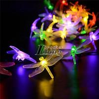 online shopping Led Energy Star - Solar String Fairy Lights Outdoor 20 LED Multicolor Dragonfly Shape Garden Patio Decor Dream Energy Saving Lighting