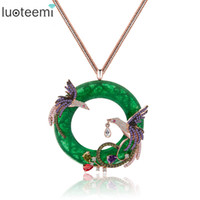 Wholesale phoenix big - LUOTEEMI New Design Atmosphere Elegant Big Round CZ Pendant Necklace with Mirco 2pcs Multi Phoenix Zircon Jewelry Rose&White Gold Color