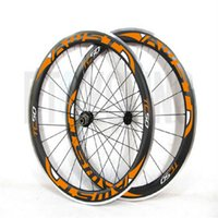 Wholesale Cycling Road Wheels Carbon - Free Shipping 50mm carbon road wheels 700C Aluminum alloy brake surface racing bike rim bicycle cycling Clincher Road bicycle wheelset