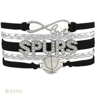 Wholesale Bracelet Basketball - Custom-Infinity Love Christmas Gifts Bracelet Sliver Leather Custom Bracelet Team Sport Rhinestone Spurs Basketball Charm Bracelets