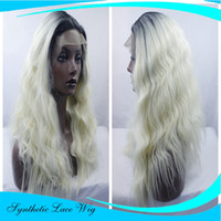 Wholesale Blonde Roses - short rose gold wig lace black root wigs curly synthetic lace front wig ombre women hair wigs heat resistant