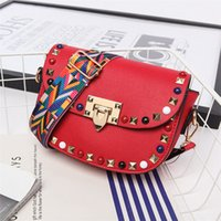 Wholesale Mini Square Cell Phone - 2017 Coloured braid shoulder rivet Small square package leather messenger bag for women crossbody bags drop shipping