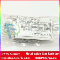 Wholesale 1w resistors - Wholesale- NEW! (200pcs lot) (Metal oxide film Resistor |1W) 1W Watt 5% Metal oxide film Resisto 0.47 ohm