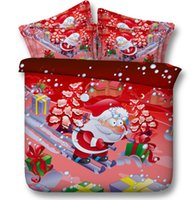 Wholesale Christmas Duvet Cover Full - Cartoon Father Christmas 3D Bedding Sets Cotton 100% Fabric Set Duvet Cases Pillow Covers Flat Bed Sheet Home Textiles King Queen