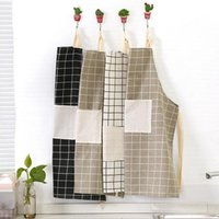 Wholesale Wholesale Plaid Apron - hotsale kitchen accessories woman adult Bibs home cooking baking coffee shop plaid cotton kitchen cleaning aprons free shipping