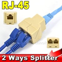 Vente en gros - 2015 Nouveau 1Pcs SOCKET RJ45 pour CAT5 CAT6 Ethernet Splitter Cable Port LAN 1 à 2 Socket Splitter Connector Adapter
