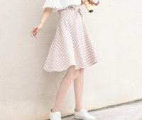 Wholesale Spring and summer new high waist fold skirt two colors college wind