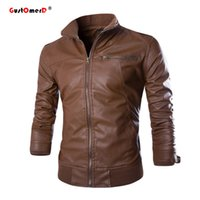 Wholesale Mandarin Collar Leather Jacket - Wholesale- 2016 New Fashion PU Leather Jacket Men Jaqueta De Couro Masculina Brand Mens Jackets And Coats Skinny Fit Motorcycle Jacket