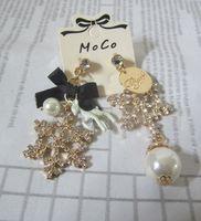 Wholesale Rhinestone Bow Earrings - New luxury crystal snowflake stud earrings pearl earrings for women brand bow earrings pendant fashion jewelry charms christmas gift 2017