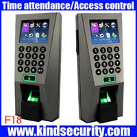 puertas biometricas al por mayor-Sistema de gestión de edificio biométrico mayorista ZK F18 Control de acceso biométrico de huellas dactilares y sistema de seguridad de tiempo de asistencia para puerta