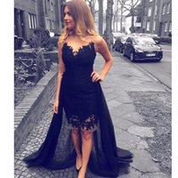 Wholesale Black High Neck Tank - Fast Shipping Black High Low Knee Length Evening Dresses Scoop Neck Tank With Appliques Detachable Train Asymmetrical Prom Gowns