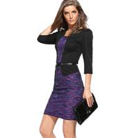 padrões de uma peça de vestido venda por atacado-Mulheres nova primavera Outono De Uma peça Faux Jacket Breve Elegante Padrões de Trabalho vestido de Escritório Bodycon Feminino 3/4 Bainha Vestido Bainha G43