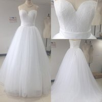 Wholesale Real Muslim Necklaces - 2017 Beach Lace Wedding Dresses Arabic A-Line Sweetheart Backless Bridal Gown Lace Up Custom Made Plus Size Wedding Dresses Necklace