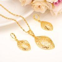gerçek altın takılar toptan satış-Moda Romantik Yaprak Kolye setleri Kolye Küpe Gerçek 18 K Sarı Ince Katı Altın Dolu Afrika Parti Mücevherat Arap Gelin Düğün Ethio