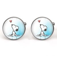 Wholesale Snoopy Dog Gift - Snoopy Cufflinks Glass Cabochon Dog Cuff Links for Men Jewelry making Accessories Cartoon Gifts Copper Wholesale