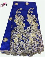 Wholesale Handcut Laces - Royal Blue Indian George Fabrics 2017 High Quality African George Fabric With Guipure Handcut Sequins George Lace AMY1105C-1