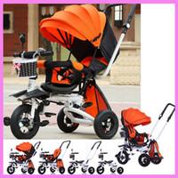 Wholesale Three Wheel Baby Stroller - Safety Ultra Pram Anti UV Luxury Three Wheels Folding Infant Toddler Swivel Seat Baby Stroller Tribike Pushchair Bicycle
