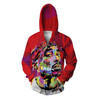 Wholesale funny tie - Wholesale-New arrive 2015 fall men women's casual tops sweatshirts tie dye graphic print Tupac 2pac funny hooded pullover hoodies