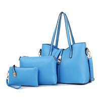 Wholesale Blue Moon Picture - Wholesale-2016 Spring European and American Fashion PU Messenger Shoulder Handbag Bag Purse Picture Size Soft Surface Handbag Three Sets