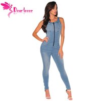 Wholesale jeans rompers for women - Wholesale- Dear Lover Denim Overalls for Women Jeans Rompers Sleeveless Stretch Zipper Jumpsuit Long Pants Female Slim Suspenders LC64108