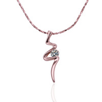 Wholesale Necklace Rose Gold - Fashion design Rose Gold white crystal jewelry Necklace for women DGN475,line 18K gold gem Pendant Necklaces with chains