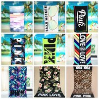 Wholesale Beach Design Bathrooms - 10 Designs 145*75cm Pink Letter Beach Towel Fitness Sports Towel VS Pink Bath Towel Leopard Flower Swimwear Bathroom Towels CCA6214 120pcs