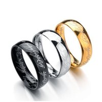 Wholesale hobbit silver - 3 colors Titanium The Hobbit Lord of the Rings finger ring 6mm 18k gold silver black Magic Rings for women men movie jewelry 080095
