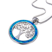 Unique Blue Fire Opal Circle Tree Shape Colares pingente oco para mulheres Men 925 Sterling Silver Filled Wedding Jewelry