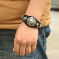 Wholesale Bracelete Charms - Wholesale-Punk Big Skull Bracelet for Lovers PU Leather Braclet Men Friendship Bracelet Braslet Pulseira Bracelete Masculina Ancora Couro