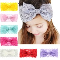Wholesale Vintage Headbands For Baby Girls - Baby Girls Big Lace Bow Headbands Kids Elastic Bow Headwrap Headbands Vintage Hairbands for Girls Children Hair Accessories 8 Colors KHA203