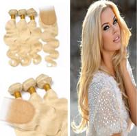 Wholesale Platinum Parts - #613 Indian Blonde Virgin Hair Weaves With Lace Closure 4*4 Free Part Top Closure With Bundles Platinum Blonde Body Wave Human Hair Weave