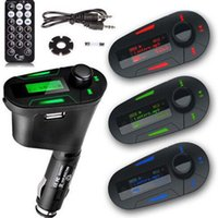 Wholesale Mp3 Car Socket Transmitter - Wholesale- LCD USB Car Charger Cigarette Lighter Charger USB Socket Car Remote Wireless FM Transmitter Modulator Car Kit MP3 Player
