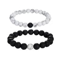 Wholesale Distance Bracelet Yin Yang Balance Black Lava Rock and White Howlite Stone His and Her Lover Couple