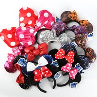 Wholesale Minnie Mouse Costume Ears - Mickey Minnie Mouse Costume Ears Dots Bow Hair Band Party Headband Thanksgiving Christmas Halloween