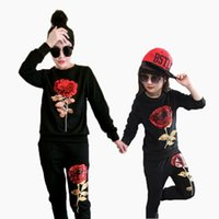 Wholesale New Fashion Rose Flower Sequin Design Mom And Daughter kids women Training Suit Sets Outfits Hoodeis Pant Family Matching Outfits