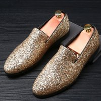 stage night club - mens casual stage night club cow leather Rhinestone shoes young punk slip on shoe flat platform brand loafers sapato
